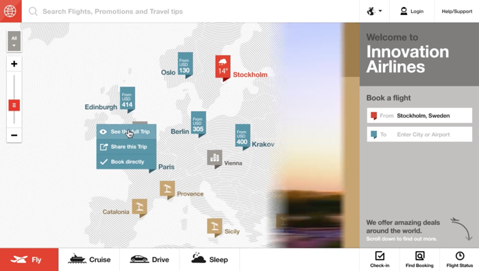 Fantasy Interactive Airline Website Design Concept Search