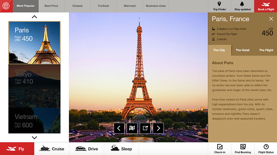 Fantasy Interactive Airline Website Design Concept Checkout