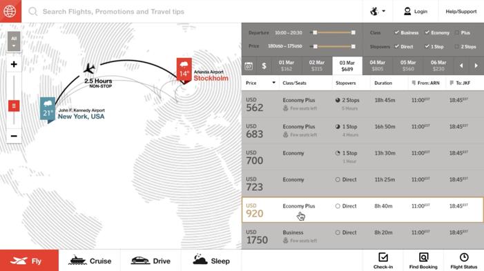 Fantasy Interactive Airline Website Design Concept Compare Prices