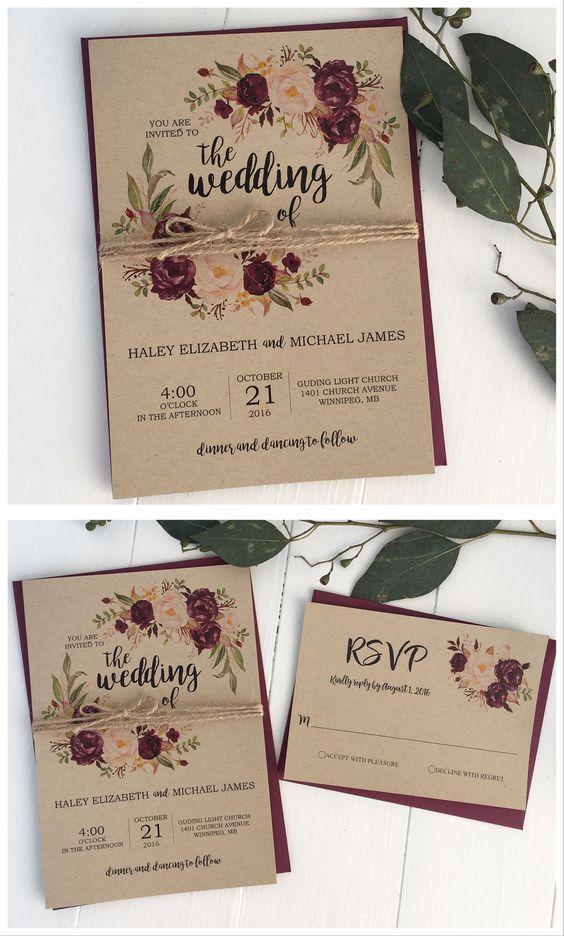 Rustic Wedding Invitation Design